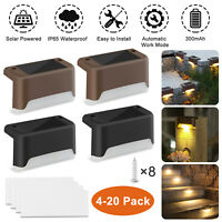 4-20 Pcs Solar Powered LED Deck Light Step Stairs Fence Lamp Path Garden Outdoor