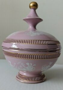 Vintage Hand Made In Italy C. Florentine Dish Pink With White and Gold Detail