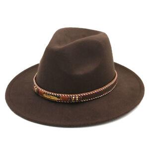 Men's Panama Hat Fedora Trilby Costume Cap Stiff Wide Brim Wool Punk Jazz Cap