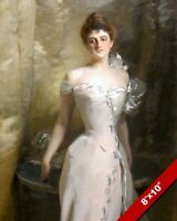 BEAUTIFUL YOUNG WOMAN IN WHITE SATIN DRESS OIL PAINTING ART PRINT ON REAL CANVAS