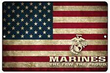Usmc United States Marine Metal Tin Sign Wall Decor Man Cave Bar Usa Rustic Flag