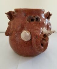 Whimsical Handmade Sculpted Elephant relief stoneware brown coffee/tea mug. 16oz