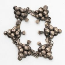 """Vintage Taxco Mexican Sterling Silver Jewelry Grapes Panel Link Bracelet 7.75"""""""