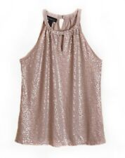 INC International Concepts Sleeveless Top Halter Taupe Sequin Stretch Large