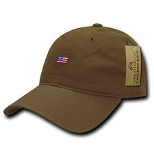 Brown USA US American Flag Patch United States America Polo Baseball Hat Cap