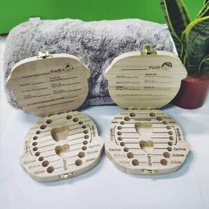 Kids Tooth Box Organizer Baby Save Milk Teeth Wood Storage Box For Boy Girl