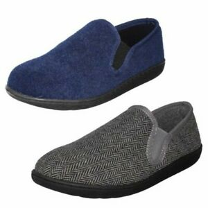Mens Casual Clarks Textile Slip On Twin Gusset Slippers King Ease