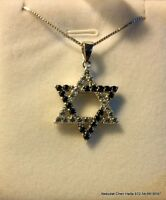 925 sterling silver Star of David pendant charm necklace with cz zircones