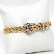 "Interlocking Heart Motif Diamond Buckle Bracelet 14 kt Yellow Gold 6 3/4"" A5690"