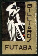 Vintage Old Matchbox Label Japan Billiards FUTABA Bad condition