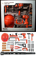 New BLACK & DECKER Junior 42-PIECE Deluxe PLAY TOOL SET Hardhat HAMMER PRESCHOOL