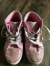 Used Shopkins Girl's High Top Shoes Size 3 Pink Bling Sparkles
