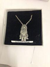 "Bearded Collie PP-D14 Dog Emblem on Silver Platinum Plated Necklace 18"""