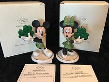 Lenox Disney Figurines Mickey Minnie Mouse Erin Go Bragh Lucky Shamrock Ireland