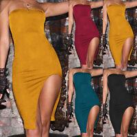 Women's Off Shoulder Side Slit Bodycon Evening Party Clubwear Short Midi Dress
