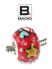 Genuine BACIO ITALY 925 sterling silver RED STARS AND BOWS charm bead