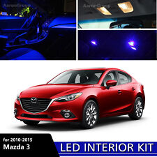 7PCS Blue Interior LED Light for 2010 - 2015 Mazda 3 Mazda3 White for License