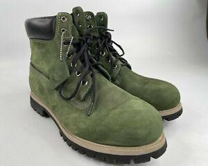 Timberland Premium Waterproof Green Boots Size 11 Nubuck 631465