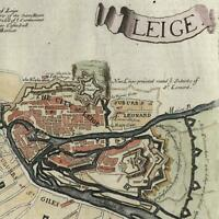 Leige Liege Belgium Meuse River Wallonia c.1720 small detailed city plan color