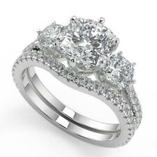 2.3 Ct Cushion Cut 3 Stone French Pave Diamond Engagement Ring Set SI1 G 14k