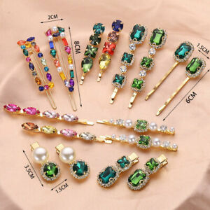 Crystal Colorful Hair Clips Rhinestone Hair Pins Barrettes Women Girls Hairstyle