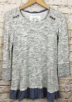 Anthropologie saturday sunday layered tunic shirt chambray fringe small A8