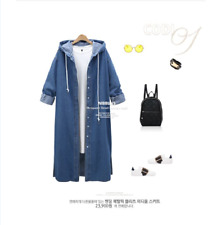 Womens Hooded Blue Denim Trench Coat Ladies Loose Jeans Outerwear Long Jacket US