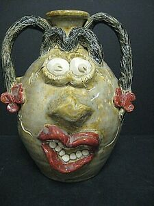 Anna King North Carolina Pottery Face Jug American Folk Art 2 Handle face jug