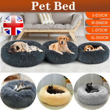 Pet Bed Warm Fluffy Comfy Round Dog Bed Nest Cat Mattress Fur Donut Pad UK