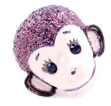 anello tratto testa smalto scimmia stile punk con glitter