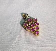 1.00 CWT Genuine Pink Sapphire & Diamond 10 KT Yellow & White Gold Pendant  NEW