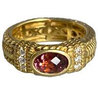 Judith Ripka 18K Yellow Gold Diamond Pink Tourmaline Vintage Band Ring Size 5.75