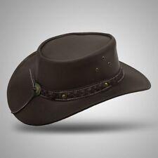 Men's Vintage Aussie Style Real Leather Cowboy Bush Hat Brown Black S M L XL XXL