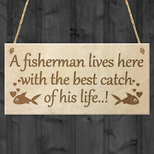 FUNNY FISHING FISHERMAN WOOD SIGN HUSBAND GRANDAD DAD SON BIRTHDAY MAN WIFE GIFT