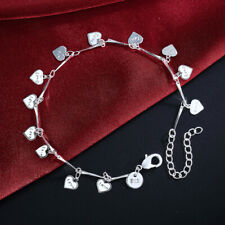 "To Heart Anklets Chain Bracelet 9.6"" Women's Fashion 925 Silver Many Sweet Heart"