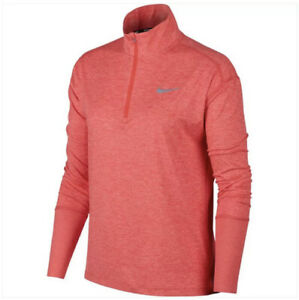 Nike Women Dry Element 1/4 Zip Crimson LS Running Top (AJ4660-850) NWT Size S/M
