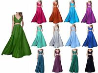 New Long Bridesmaid Prom Dress Sexy Two Piece Formal Evening Beach Party Custom