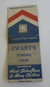 Old 1940's - EWART'S - Pomona CA. - MATCHBOOK - Hart Schaffner & Marx Clothes