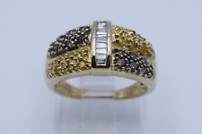 & Brown Diamonds in 10K Yellow Gold Amazing Lady Ring with 0.33 Ct White, Yellow