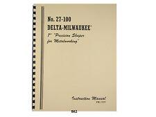 "Delta Milwaukee 7"" Metal Shaper No. 27-100 Instruction & Parts Manual *862"