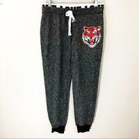 Women's No Boundaries Medium Jogger Sweatpants Pajamas Gray Grey Lion Tiger