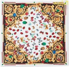 """VERSACE white Ladybugs & Butterflies BAROQUE silk 35""""-square scarf NWT Authentic"""