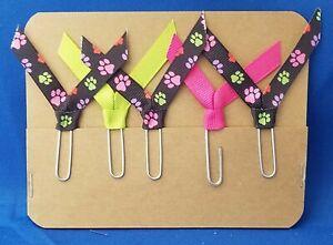Set of 5 Handmade Decorative Paper Clip Book Marks - DOG PRINT FLOWER BLACK