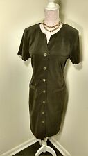 Jessica Howard sz.14 faux suede drab olive dress button front & welt trim