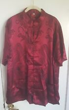 Men's Burgundy Oriental Chinese Kung-Fu Style 100% Silk Shirt Size XL NEW