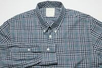 Billy Reid Mens Button Down Shirt Size Medium Standard Cut Blue White Plaid