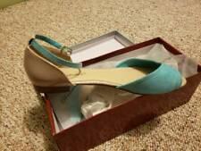 Breckelles Womens Flat Sandals Blue Beige Peep Toe Ankle Strap Shoes 8.5 New