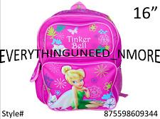 """Tinker bell Pink Large 16"""" Book Bag Backpack-9344"""