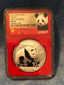 2016 China 1 oz silver Panda NGC MS70 Early Release Red Core