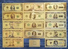 More details for gold usa bank notes. full set of 14 plus coa. 99.9% pure 24 carat gold.